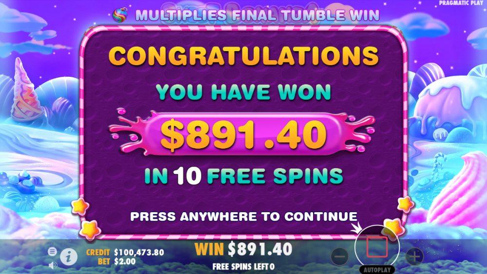 Bonanza wins from free spins