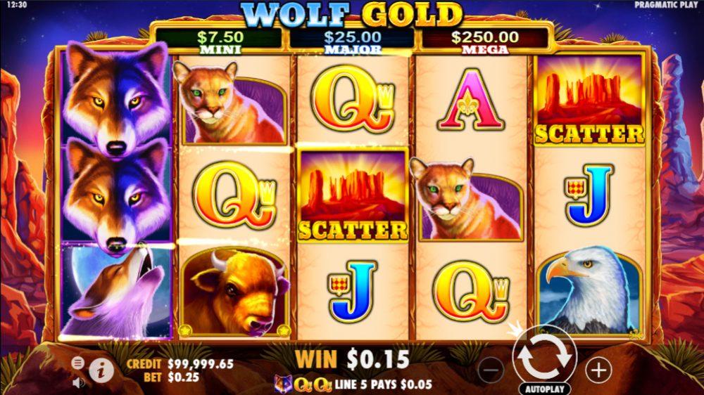 Gold Wolf symbols scatter